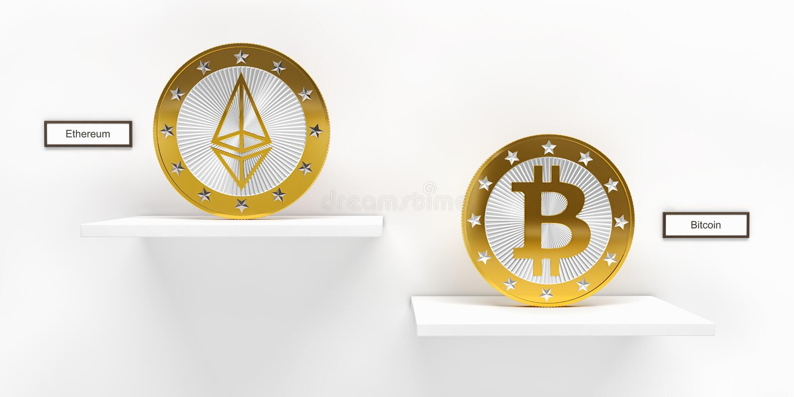 Golden Bitcoin and Ethereum Coin - 3D rendering stock illustration