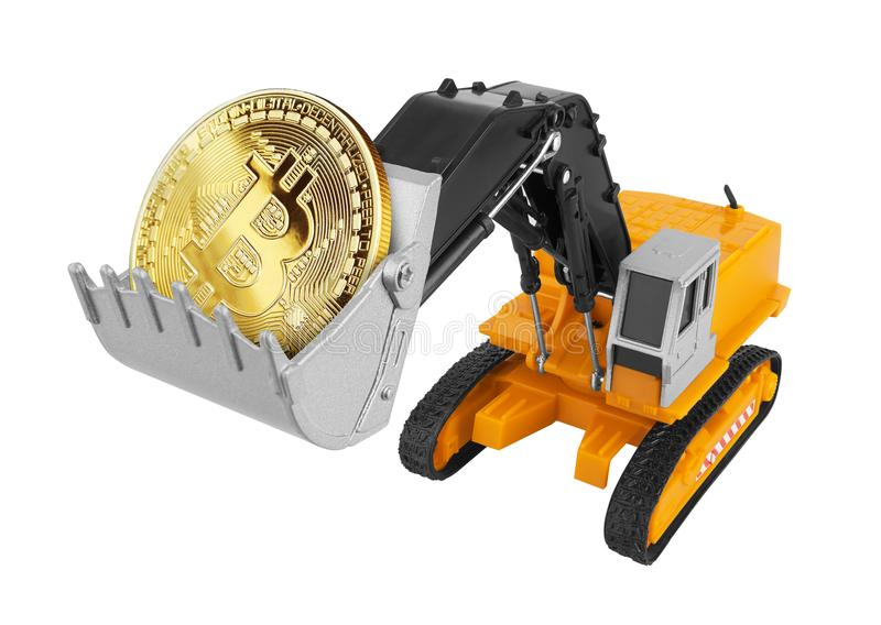 Golden Bitcoin in a excavator. Isolated on white background stock illustration