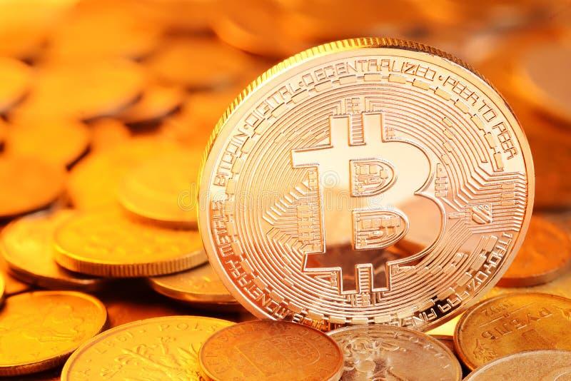 Golden Bitcoin exchange stock images