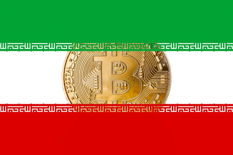 Golden bitcoin inside the Iranian flag/Iran cryptocurrecy concept.  royalty free stock photo