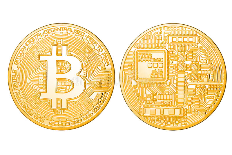 Golden Bitcoin isolated royalty free stock image