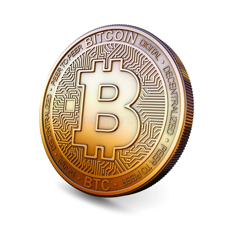 Bitcoin - Cryptocurrency Coin on White Background. 3D Rendering, royalty free illustration