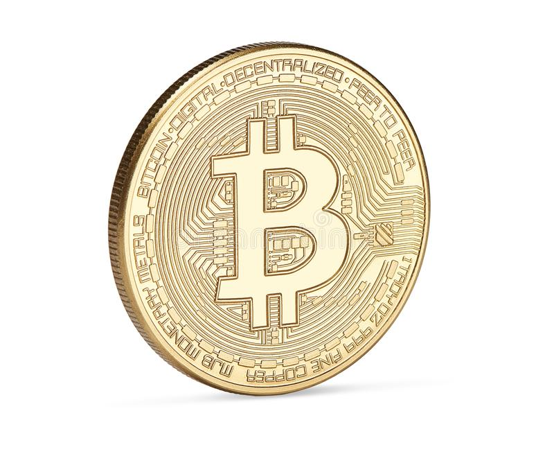 Golden bitcoin isolated on white background royalty free stock photo