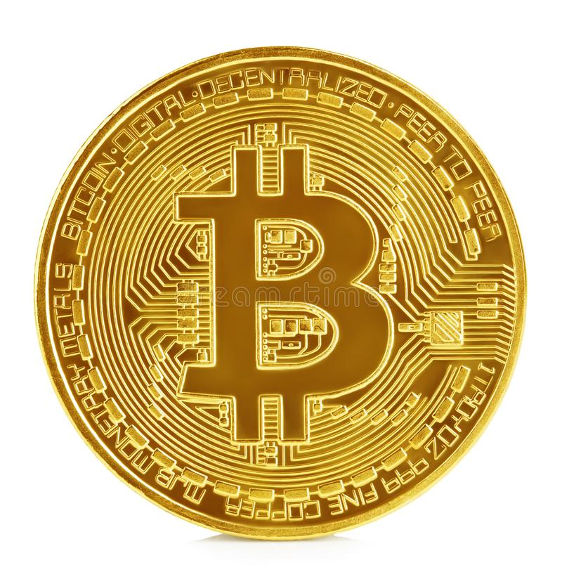 Golden bitcoin isolated on white background. New virtual money royalty free stock photography