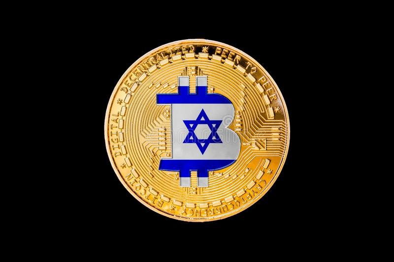 Golden bitcoin with the Israel flag in the center/Israel cryptocurrecy concept.  royalty free stock images
