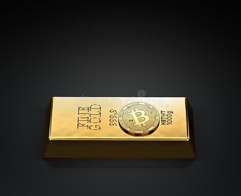 Golden Bitcoin laying on the gold ingot bullion bar with copy space above available. Bitcoin as a future gold most precious com. Modity in the world. 3D royalty free illustration