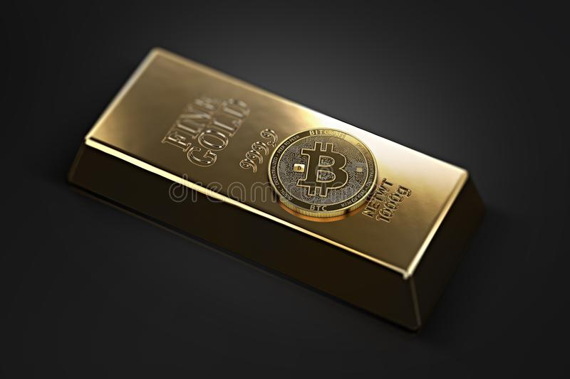 Golden Bitcoin laying on the gold ingot bullion bar with copy space available in the corners. Bitcoin as a future gold. Most precious commodity in the world. 3D royalty free illustration