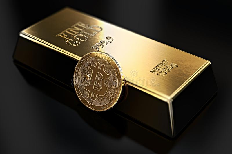 Golden Bitcoin lean against gold ingot bullion bar. Bitcoin fails to be more desirable than gold. 3D rendering stock illustration