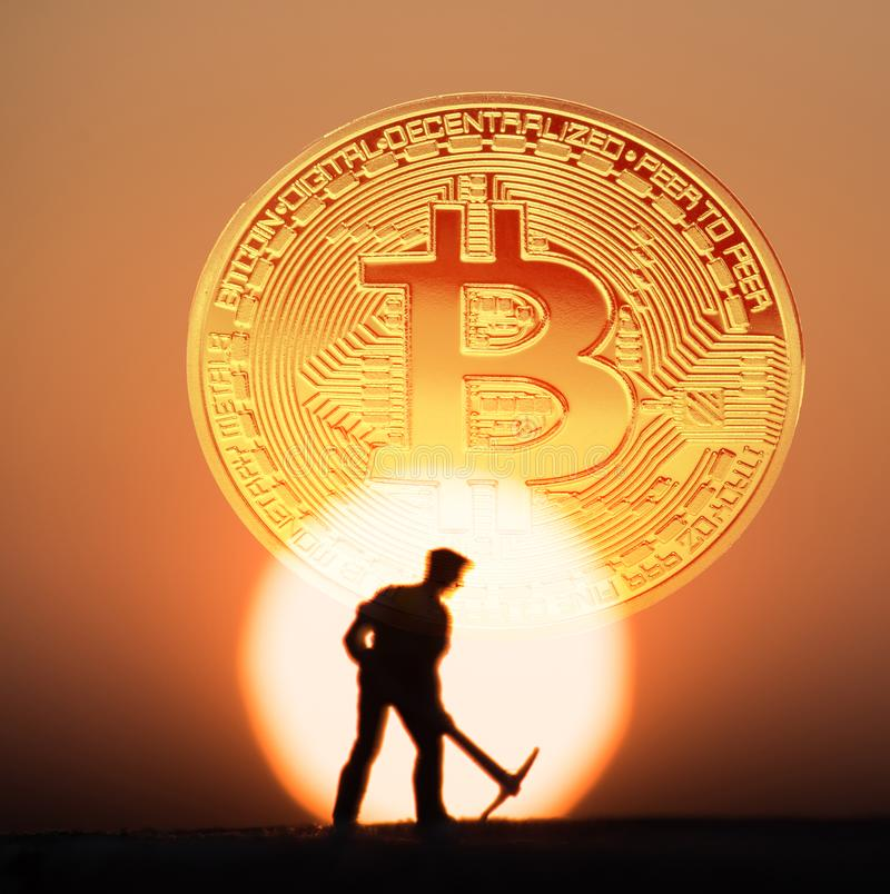 Golden Bitcoin money on computer. stock illustration