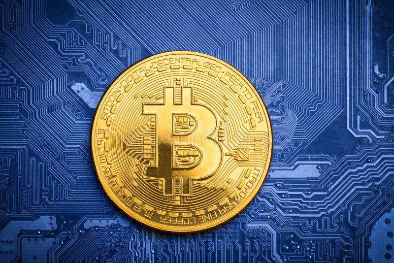 Golden bitcoin on printed circuit board royalty free stock photos