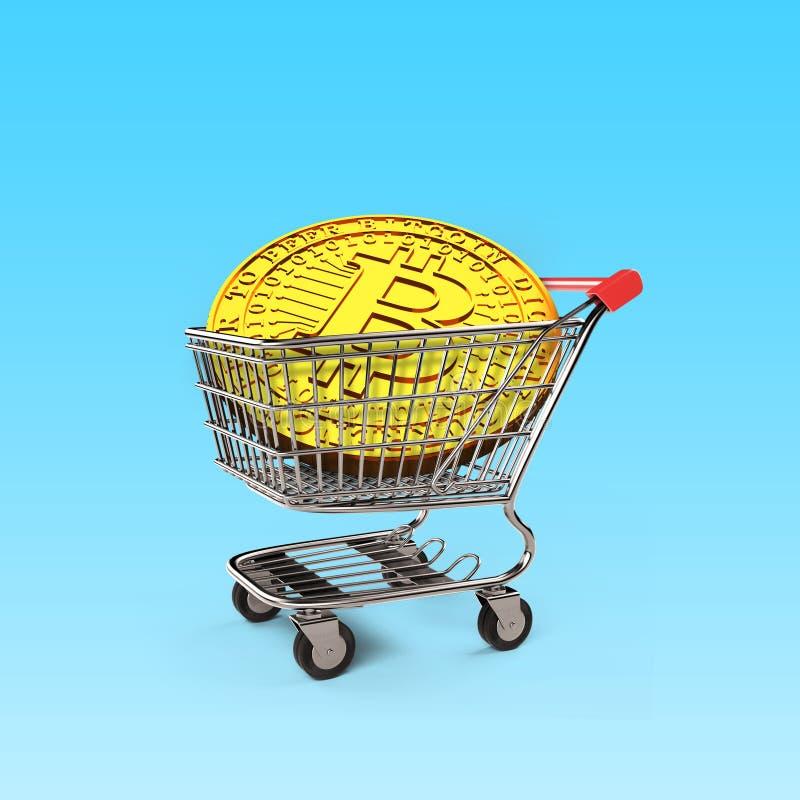 Golden Bitcoin on shopping cart, 3D illustration royalty free illustration