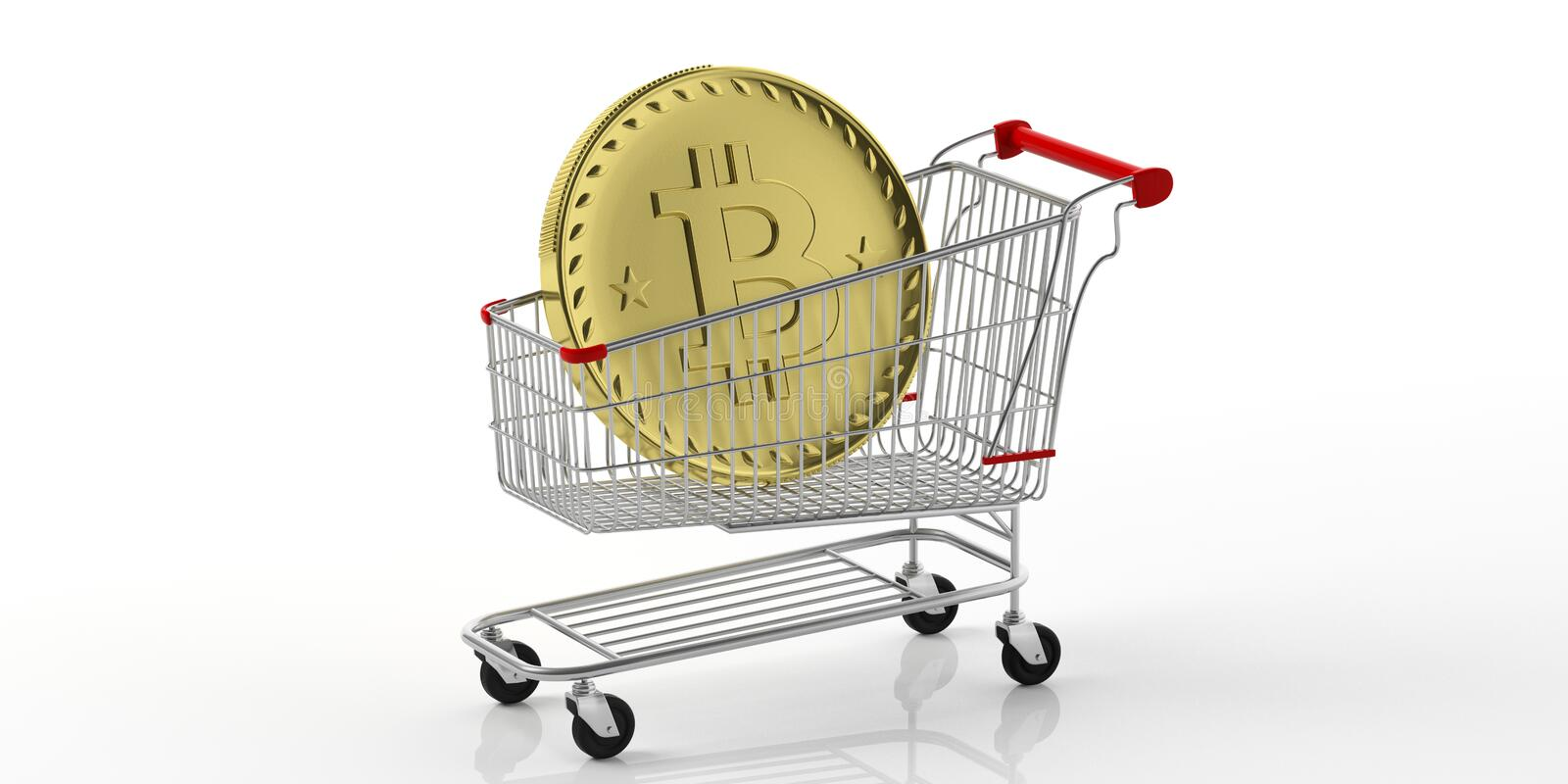Golden bitcoin in a shopping cart, isolated on white background. 3d illustration royalty free illustration