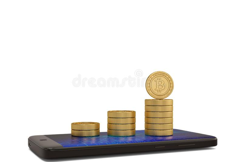 Golden bitcoin sign money and smart phone on white background 3D illustration. vector illustration