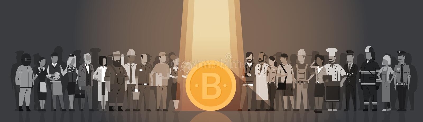 Golden Bitcoin In Spot Light Over Silhouette People Crowd Modern Web Money Digital Currency Concept stock illustration