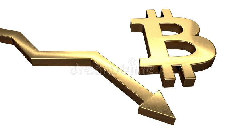 Golden bitcoin symbol and arrow down. Isolated on white background. 3D rendered illustration.  royalty free illustration
