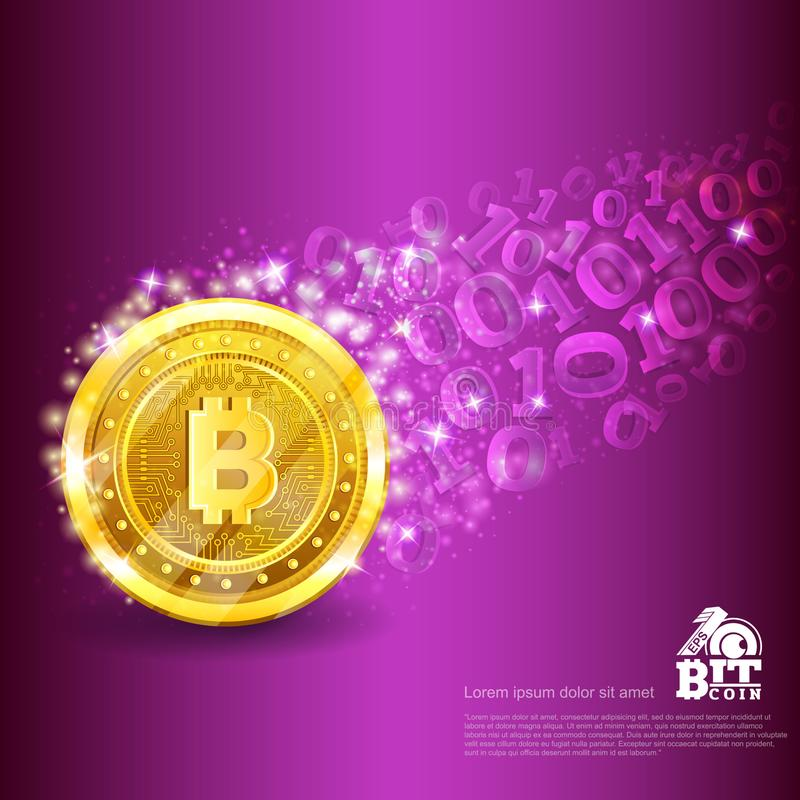 Golden bitcoin with trail from binary code on violet. Abstract vector business background. Golden bitcoin with trail from binary code on violet. Abstract vector royalty free illustration