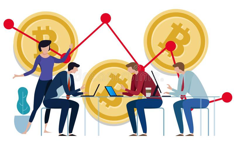 Golden Bitcoins chart down background. Graph of the negative growth of price. team work on investment management stock illustration