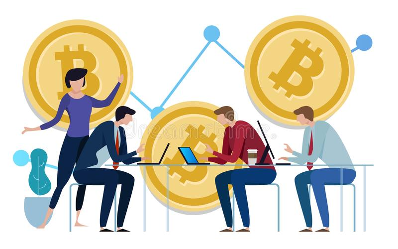 Golden Bitcoins chart up background. Graph of the growth of price. team work on investment management monitoring vector illustration