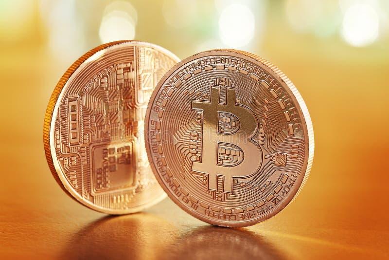 Golden Bitcoins royalty free stock image
