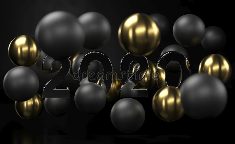 2020 Golden and black abstract background with 3d spheres bubbles. Christmas balls textured with gold. Jewelry cover royalty free illustration