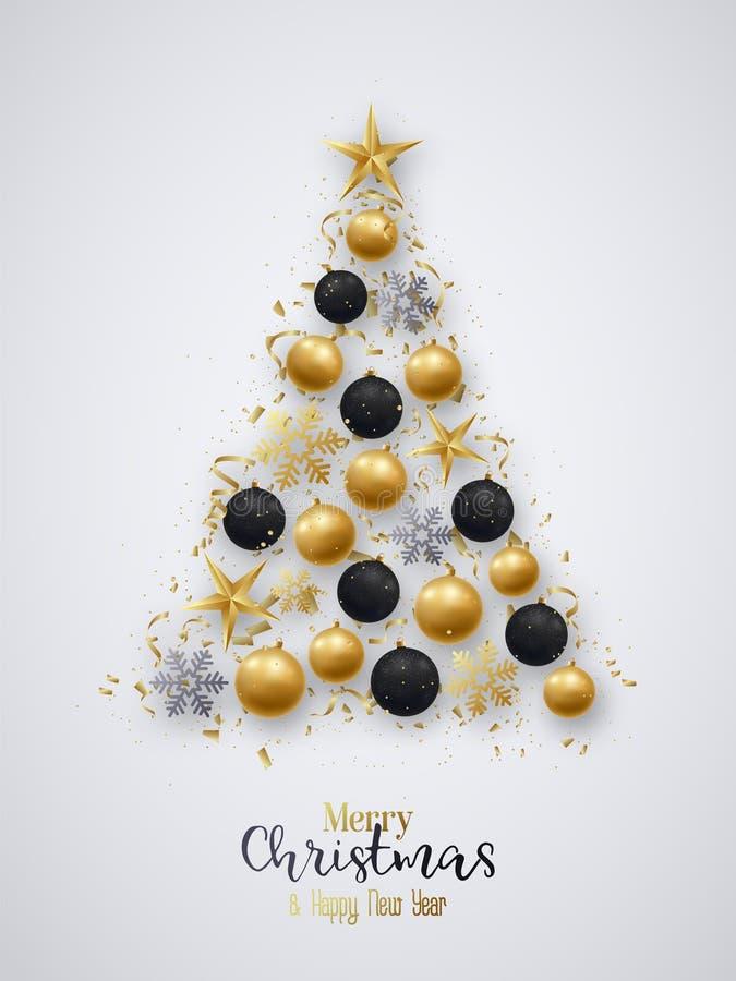 Golden and black christmas balls, bright snowflakes royalty free illustration