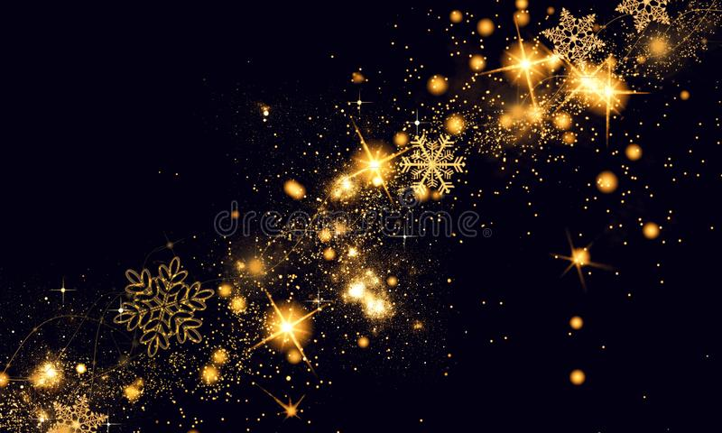 Golden black Christmas or New Year background with glitter, snowflakes, stars, bokeh gold lights, festive dark style background royalty free stock photography