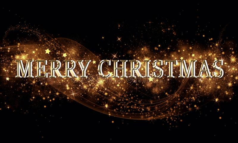 Golden black Christmas or New Year background with glitter, snowflakes, stars, bokeh gold lights, festive dark style background stock photo