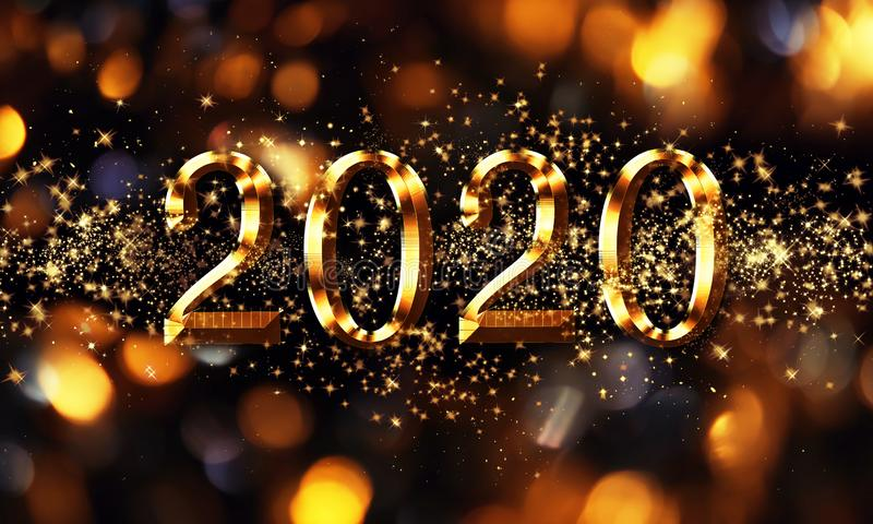 Golden black Christmas or New Year background, inscription 2020 with glitter, snowflakes, stars, bokeh lights on the festive. Background, raster  illustration royalty free stock photos