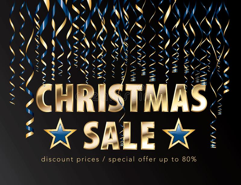 Gold blue sale christmas stock illustration