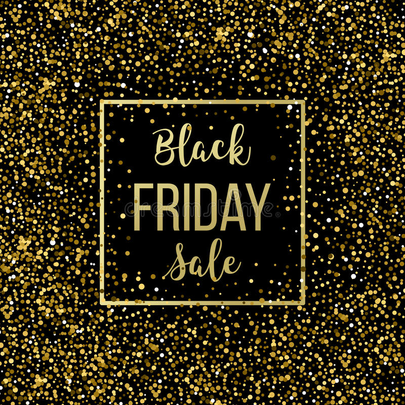 Golden Black Friday Sale Lettering Background Template For Your