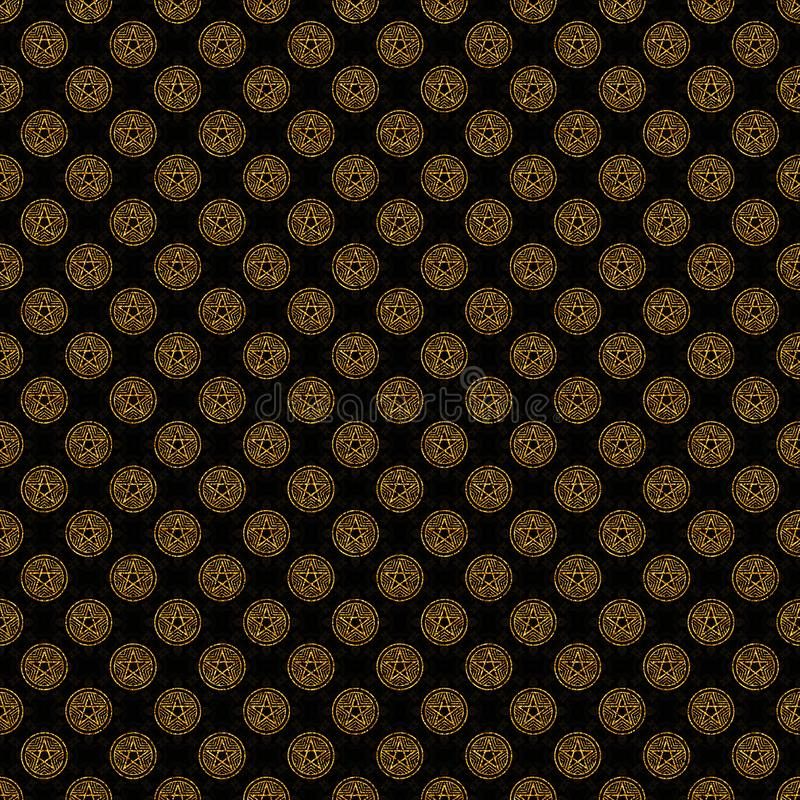 Golden black seamless digital background with a star pentagram vector illustration