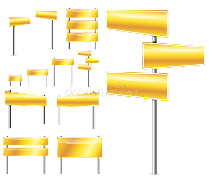 Golden blank road sign. Set of golden blank road sign isolated on white vector illustration