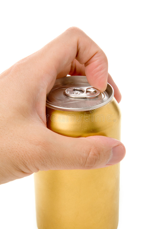 Golden blank soda can royalty free stock photography