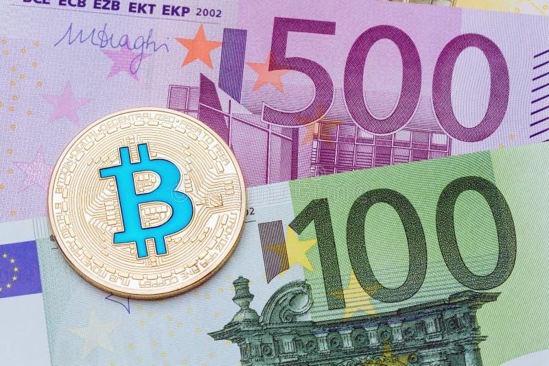 Golden blue bitcoin euro background. Bitcoin cryptocurrency. stock photos
