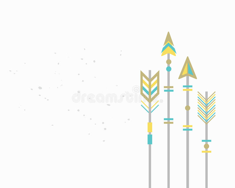 Golden and blue closeup cut Aztec arrows card on white background vector illustration
