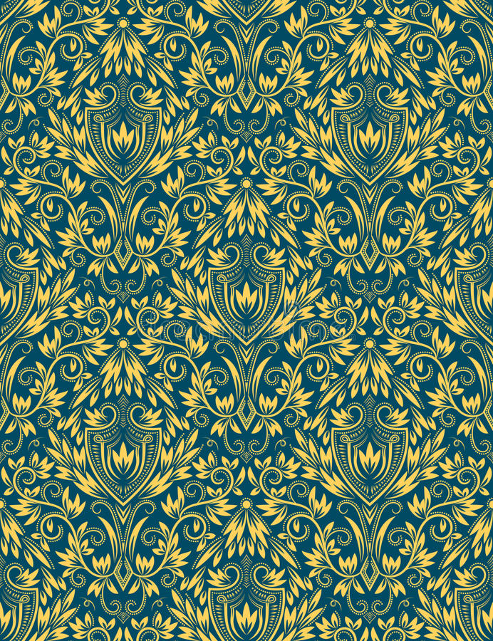 Golden blue floral seamless pattern repeating background royalty free illustration