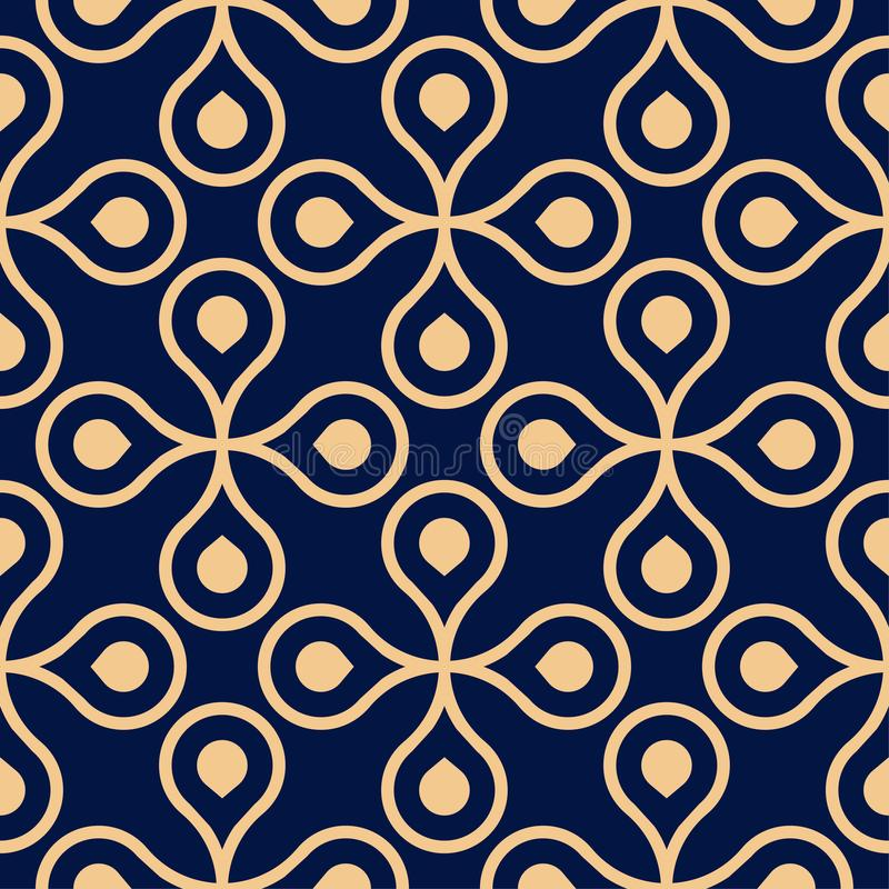 Golden blue geometric ornament. Seamless pattern. For web, textile and wallpapers royalty free illustration