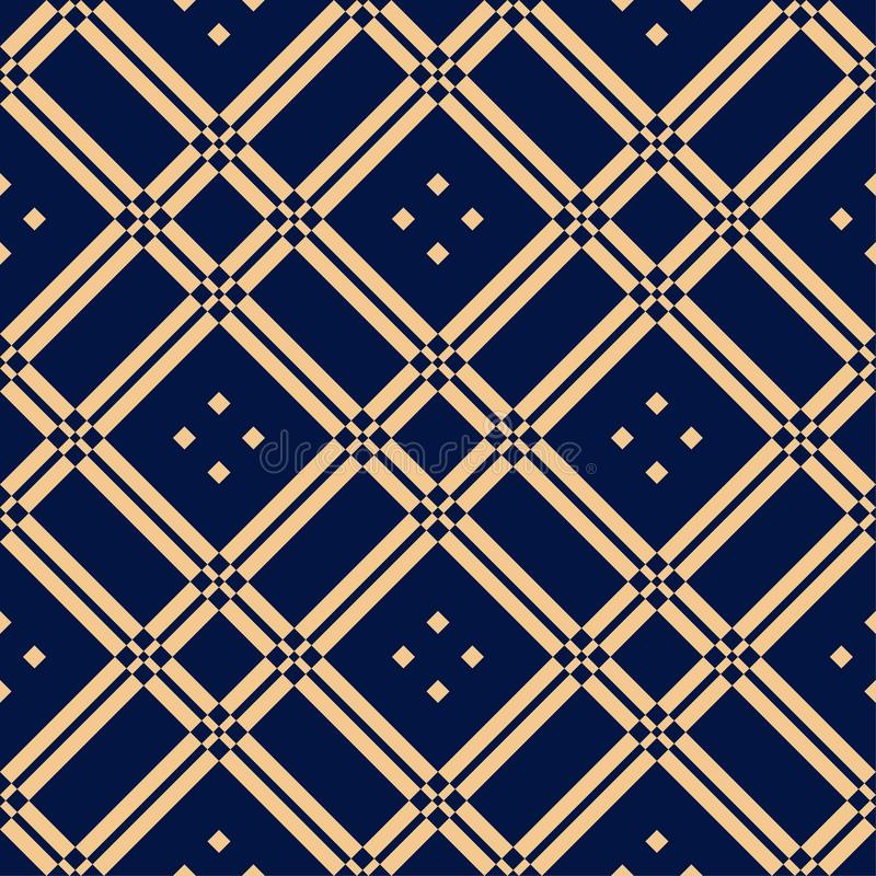 Golden blue geometric ornament. Seamless pattern royalty free illustration
