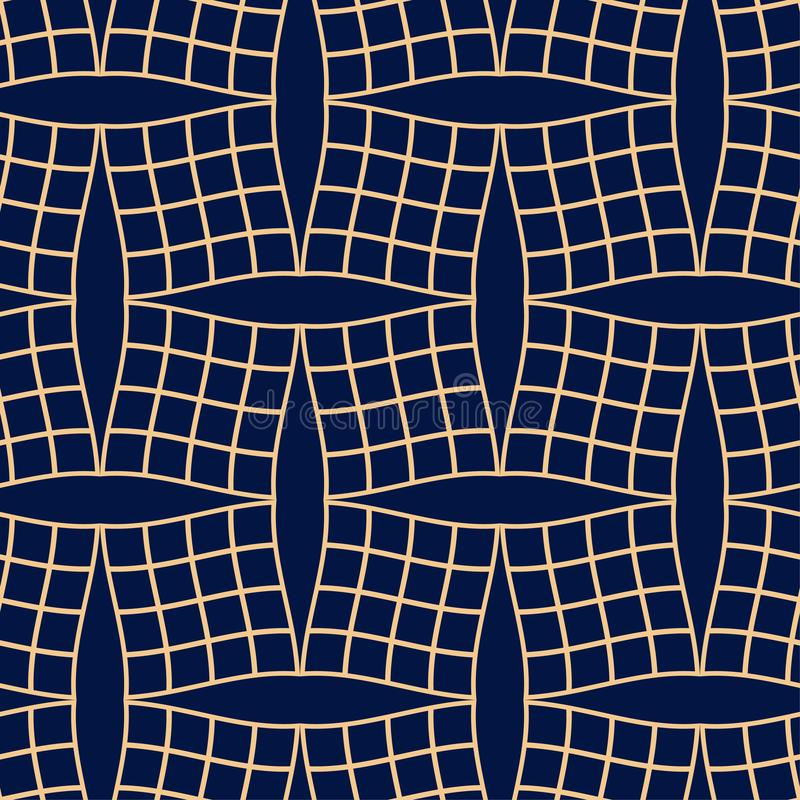 Golden blue geometric ornament. Seamless pattern stock illustration
