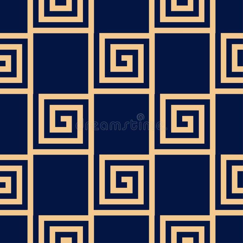 Golden blue geometric ornament. Seamless pattern stock illustration