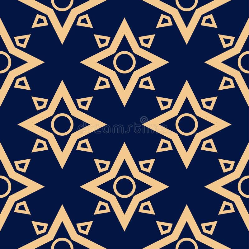Golden blue geometric seamless pattern vector illustration