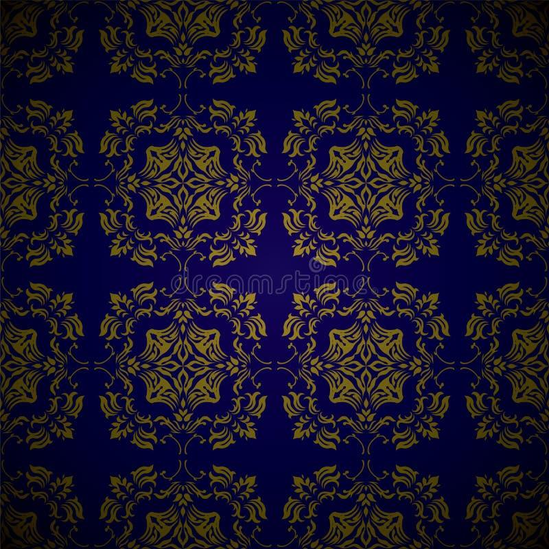 Golden blue link floral stock illustration