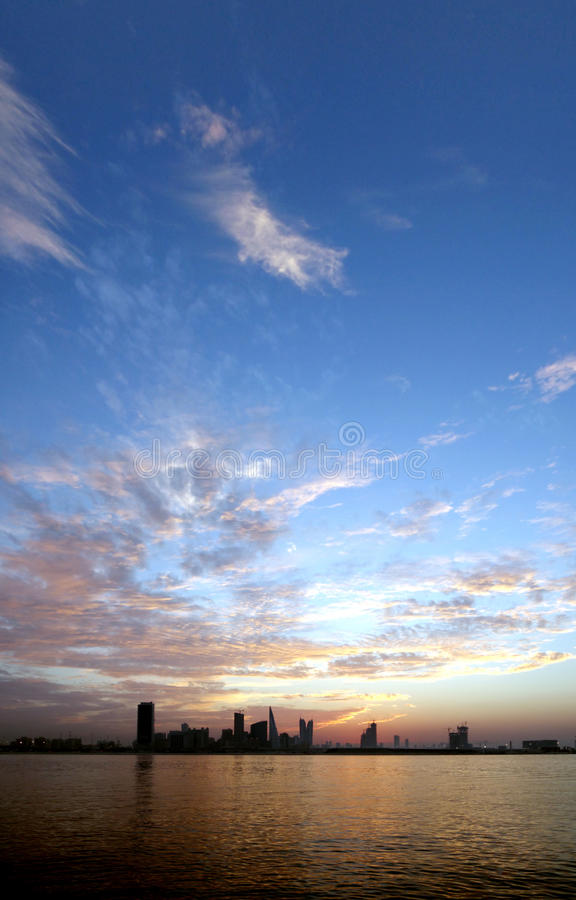 Golden and blue sky during sunset royalty free stock image