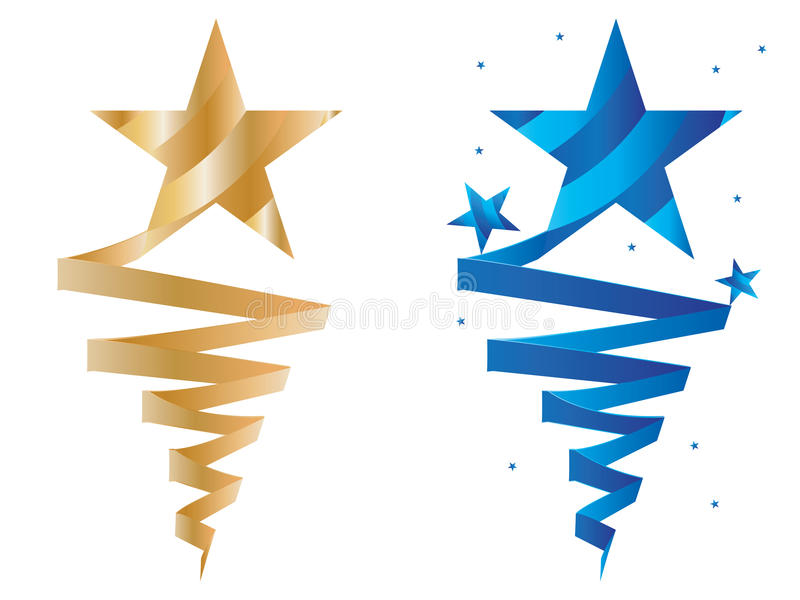 Golden blue star wear ribbon. Illustration design golden star wear ribbon blue star decor template white color background set element graphic stock illustration