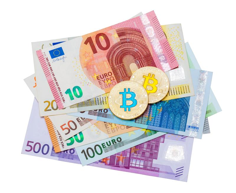 Golden blue and yellow bitcoin and euro banknote on white background. stock photos