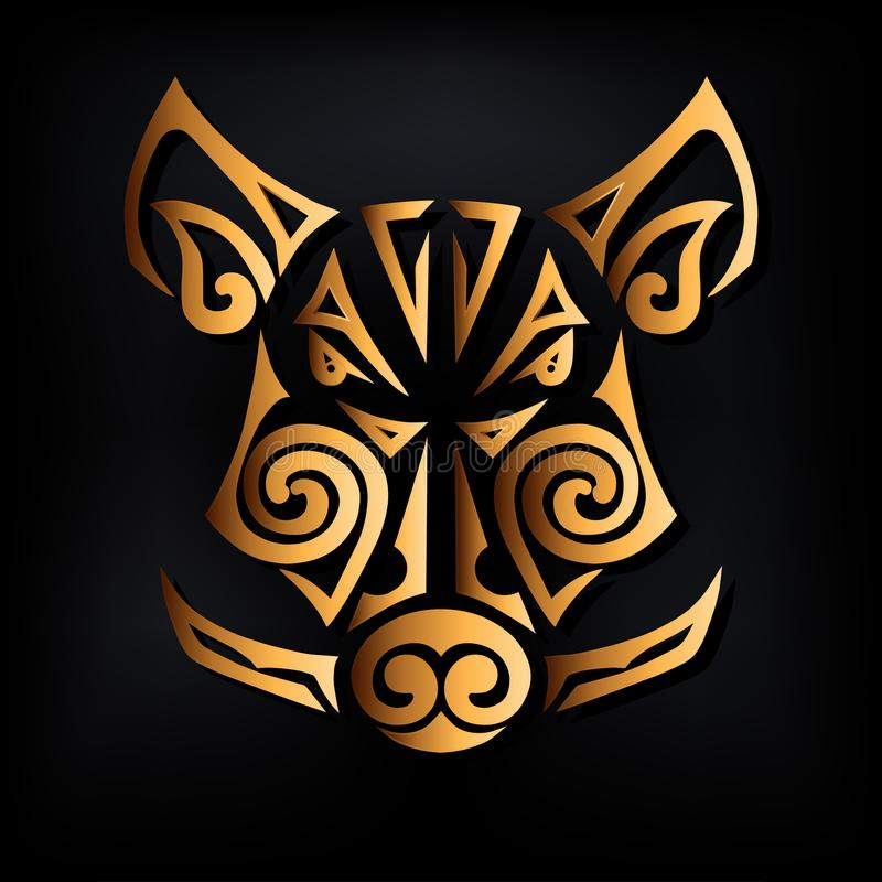Golden boar head isolated on black background. Stylized Maori face tattoo. Symbol of Chinese 2019 New Year. Vector illustration. Golden boar mask vector illustration