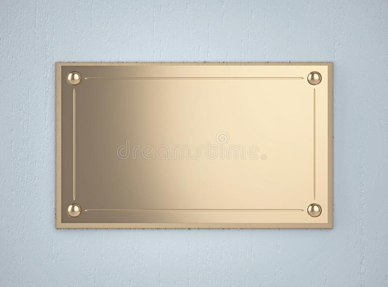 Golden board on the blue wall. Golden board with a frame on the blue wall. 3D rendering royalty free illustration
