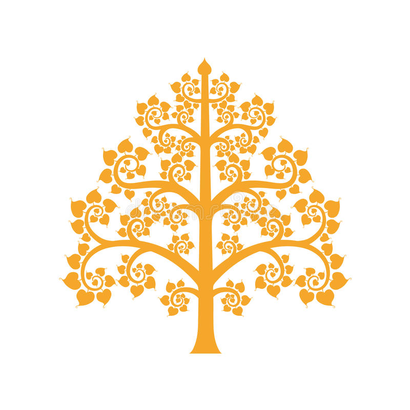 Golden Bodhi tree symbol with Thai style isolate on background. Vector illustration