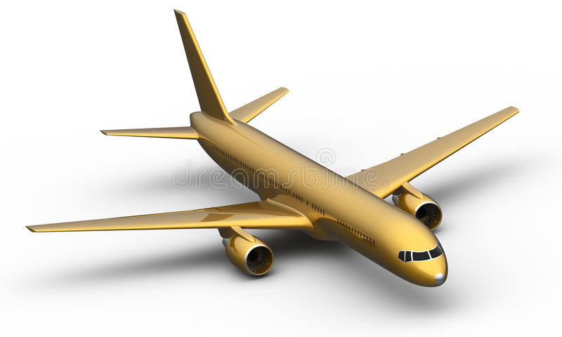 Golden Boeing 757 aircraft royalty free illustration