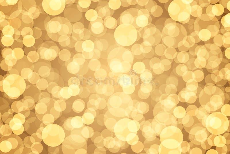 Golden bokeh abstract light background. Vector illustration royalty free illustration